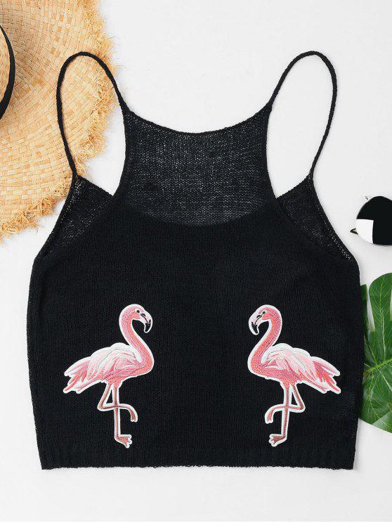 Flamingo Patched Cami Top - Negro M