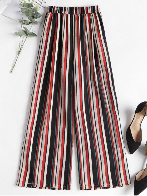 lady Contrast Striped Wide Leg Pants - RED M
