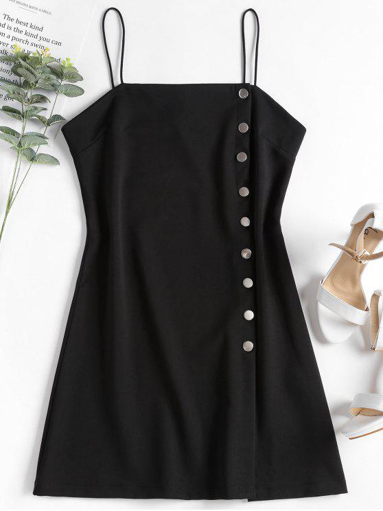 outfits Cami Snap Button Mini Dress - BLACK M