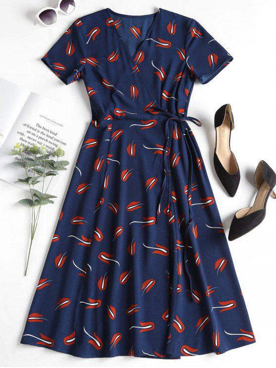 trendy Printed Wrap Dress - DEEP BLUE L