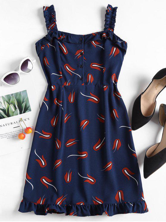 Babados impressos mini vestido - Azul Escuro L