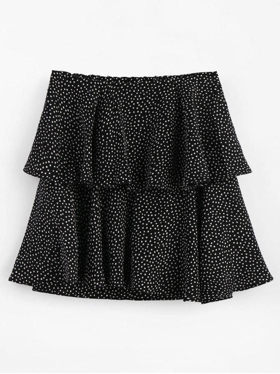 تنورة منقطة - أسود L