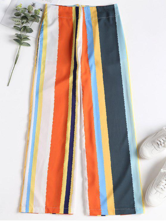 Calça de perna larga listrada com zíper traseiro - Multi S