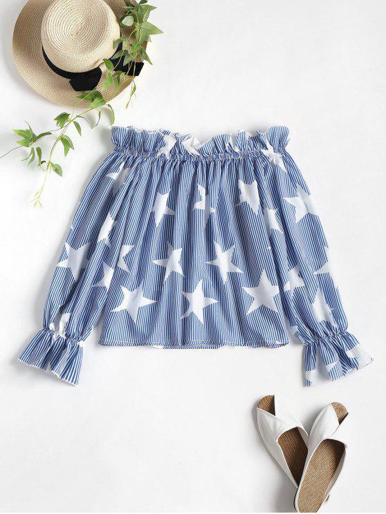 buy Off Shoulder Stars Striped Blouse - BLUE S