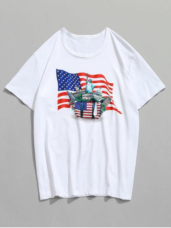 T-shirt Drapeau Américain et Repère Bâtiment Imprimés - Blanc S