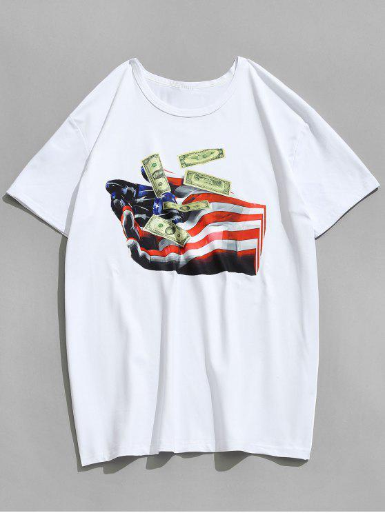 العلم الأمريكي اليد دولار تي شيرت مطبوعة - أبيض S