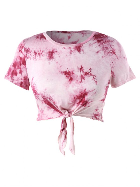 chic Plus Size Crop Tie Dye Knot Tee - LIGHT PINK 3X