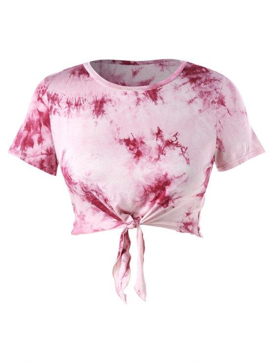 fancy Plus Size Crop Tie Dye Knot Tee - LIGHT PINK 4X