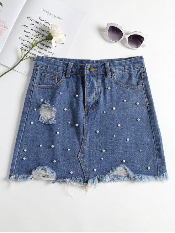 Gonna In Denim Strappato Decorato Con Perle Finte - Blu Jeans  S