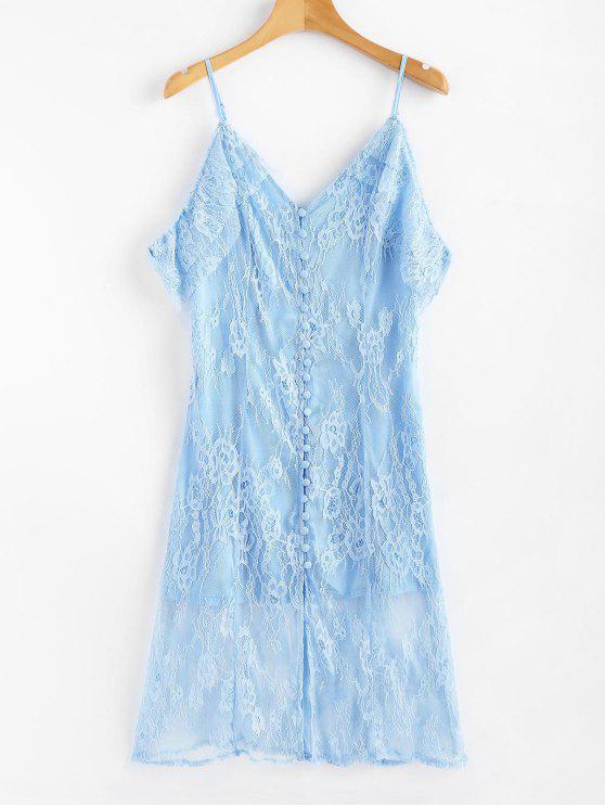 Kalte Schulter Knopf Vorder Spitze Kleid - Himmelblau L
