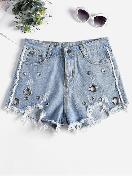Tülle Ausgefranst Ausgeschnittene Shorts - Denim Blau M
