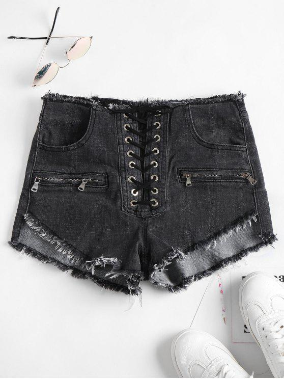 outfit Lace Up Frayed Denim Shorts - GRAY S