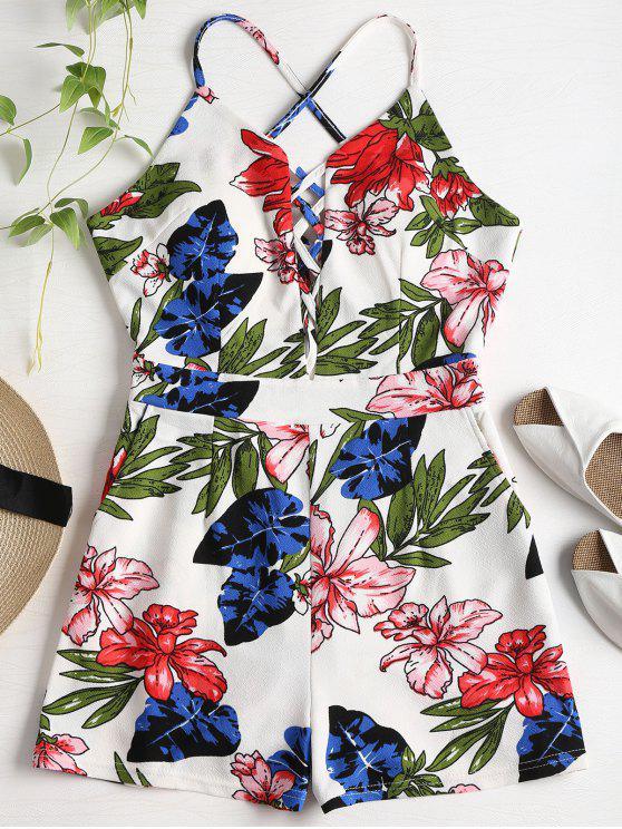 Estampado floral Criss Cross Romper - Multicolor M