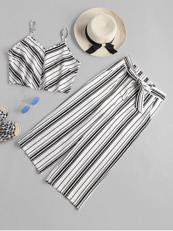 lady High Waist Striped Pants Set - WHITE L