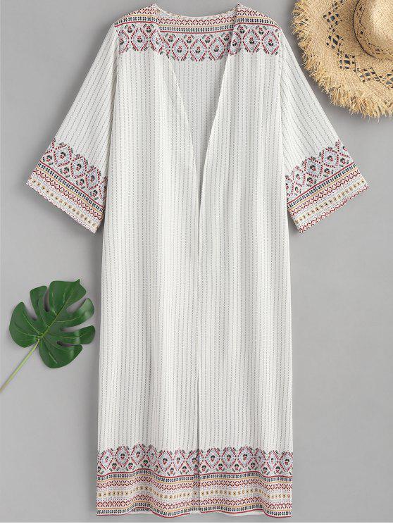 Gedruckter Offener Vorderer Maxi Kimono - Weiß Eine Größe