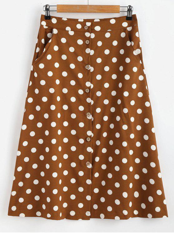 lady Button Through Polka Dot Midi Skirt - COFFEE L