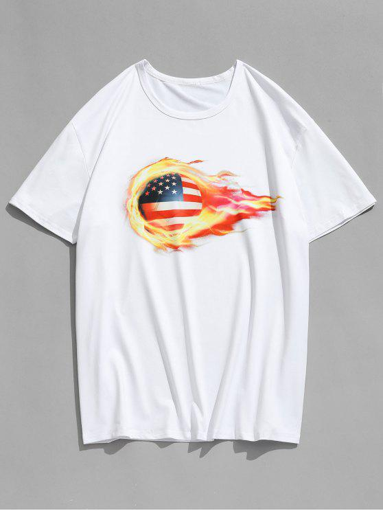 fashion 3D American Flag Football Printed T-shirt - WHITE L
