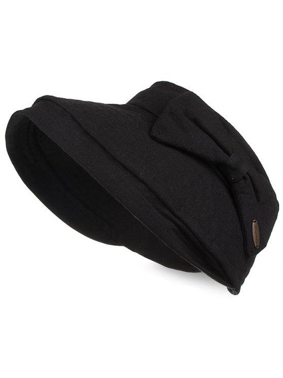 shop Anti UV Bowknot Open Top Foldable Summer Hat - BLACK