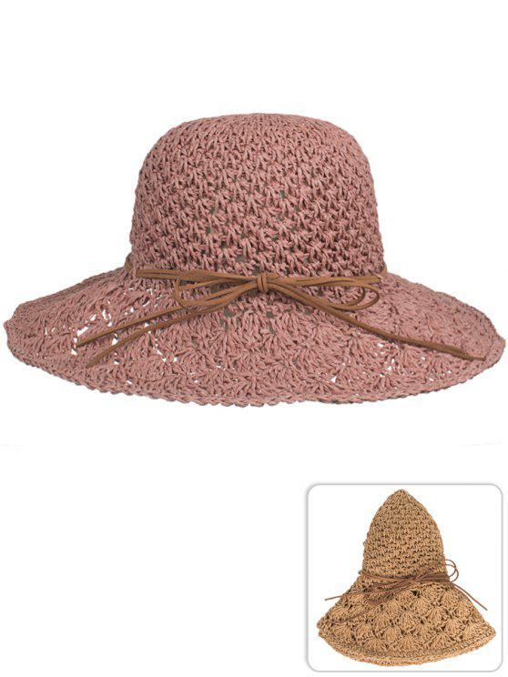 Chapeau de paille à tricoter main anti-UV bowknot - Rose Brun