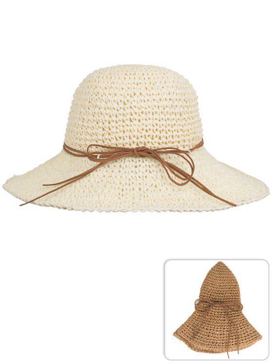 Cappello Da Sole Di Paglia Pieghevole Con Fiocco Anti UV - Beige