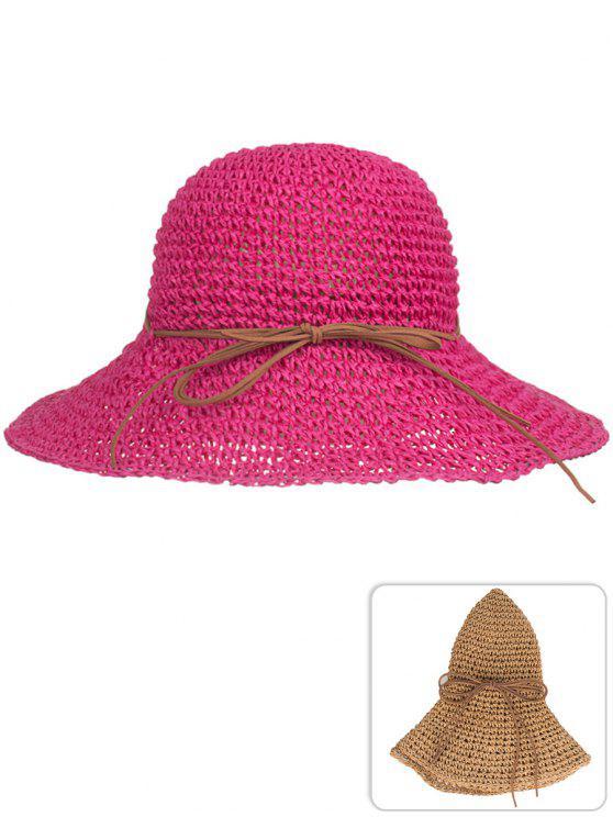 Cappello Da Sole Di Paglia Pieghevole Con Fiocco Anti UV - Rosso Roseo