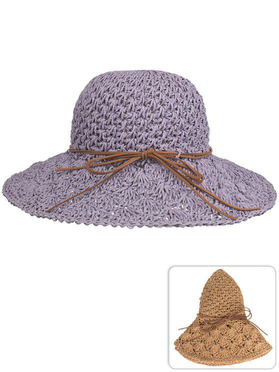 2019 Anti UV Bowknot Hand Knitting Straw Sun Hat In PURPLE DRAGON ... 4dad2934113