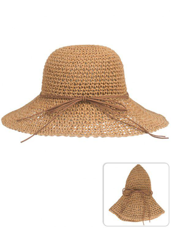 hot Anti UV Bowknot Foldable Straw Sun Hat - CINNAMON