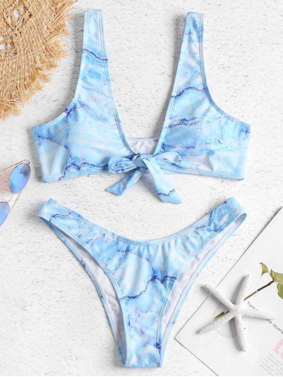 online Marble Print Tank Bikini Set - MULTI-J M