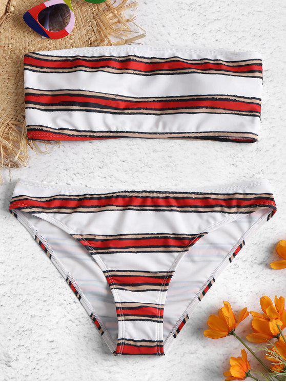 Conjunto de bikini Bandeau de rayas horizontales - Amo Rojo S