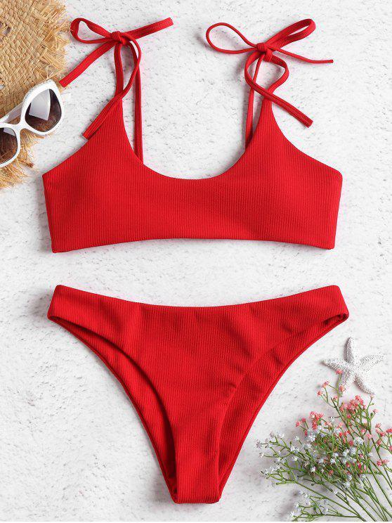 hot ZAFUL Tie Shoulders Ribbed Bikini - LOVE RED S