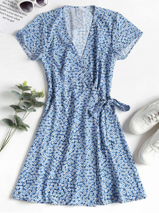 women ZAFUL Knotted Floral Wrap Dress - CORNFLOWER BLUE S