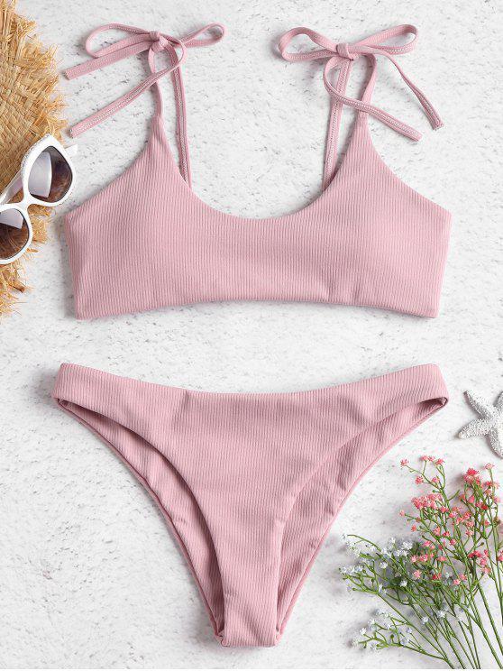 outfit ZAFUL Tie Shoulders Ribbed Bikini - LIGHT PINK L