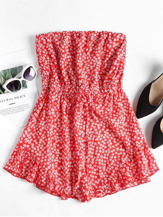 best Ruffles Floral Strapless Romper - FIRE ENGINE RED M