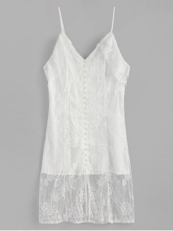shop Cold Shoulder Covered Buttons Lace Dress - WHITE M