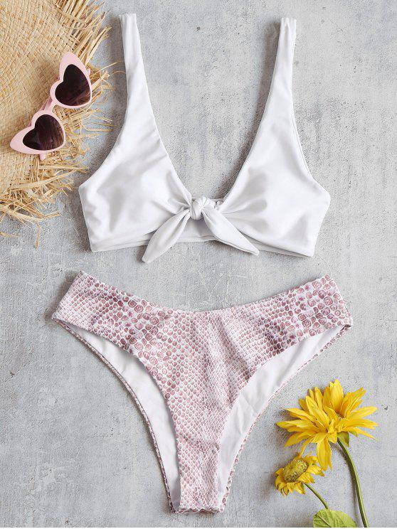 affordable ZAFUL Knotted Stone Print Bikini Set - WHITE M