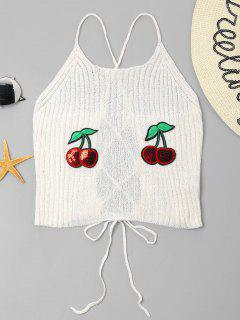 Cherry Patched Cami Top - Milk White S