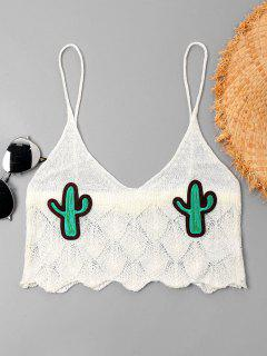 Cacti Patched Crop Cami Top - Milk White M