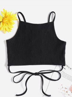 Ribbed Lattice Tank Top - Black