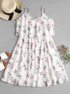 GeschichtetesBlumen Cami Fließendes Kleid - Weiß M