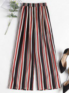 Contrast Striped Wide Leg Pants - Red L