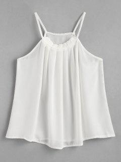Pleated Chiffon Top - White M