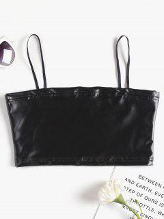 Faux Leather Bralette Tank Top - Black S