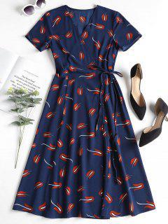 Printed Wrap Dress - Deep Blue S