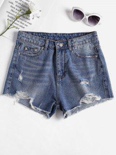 Destroyed Cutoffs Denim Shorts - Denim Blue S