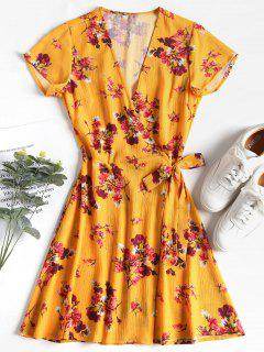 Snap Button Floral Wrap Dress - Bright Yellow M