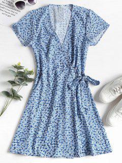Robe Cache-cœur à Fleurs Nouées - Bleu Bleuet L