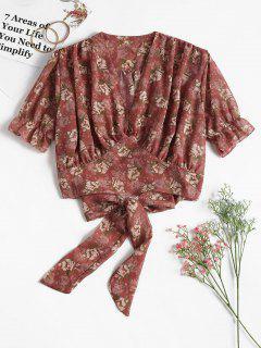 Floral Tie Waist Crop Top - Lipstick Pink