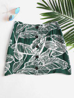 Leaves Print Buttoned Skirt - Medium Sea Green L