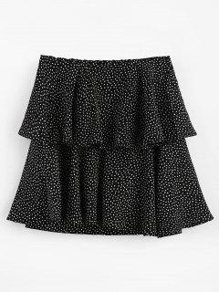 Polka Dot Ruffle Skirt - Black L