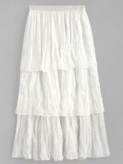 Tea Length Ruffle Skirt - White